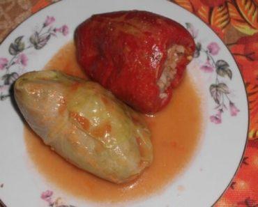 Фото фаршированного перца и голубца, приготовленных в одной посуде